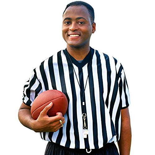 Crown Sporting Goods Men's Official Black & White Stripe Referee Umpire V-Neck Jersey, Large
