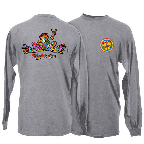 Peace Frogs Adult Sport Grey Button Long Sleeve T-Shirt