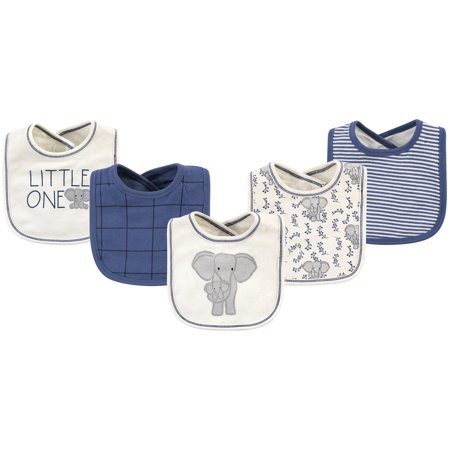 Touched by Nature Baby Boy and Girl Organic Bibs, Elephant, 5 Pack Organic Baby Bib