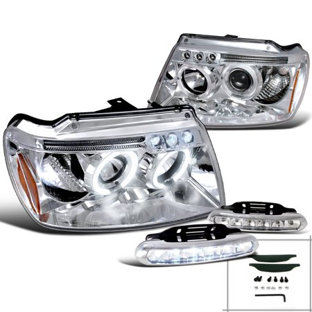 Spec-D Tuning For 1999-2004 Jeep Grand Cherokee Chrome Projector Halo Headlight + Running Daytime Led Fog (Left+Right) 1999 2000 2001 2002 2003 (2007 Jeep Grand Cherokee Fog Light Installation)