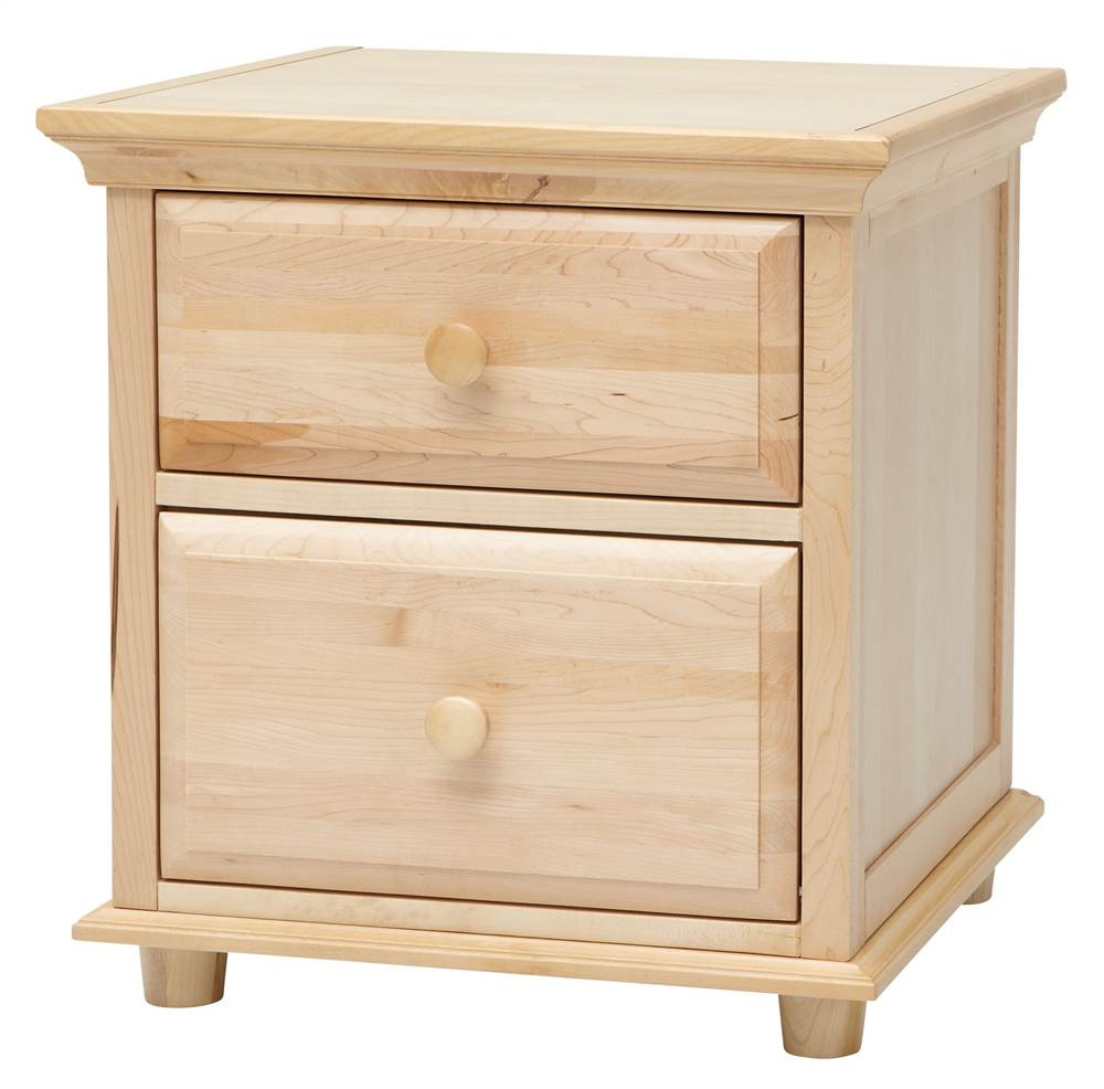 Kids 2 Drawer Night Stand w Crown & Base in Natural
