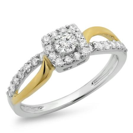 Dazzlingrock Collection 0.55 Carat (ctw) 14K Two Tone Gold Round Cut Diamond Ladies Bridal Halo Engagement Ring 1/2 CT, Size 8.5