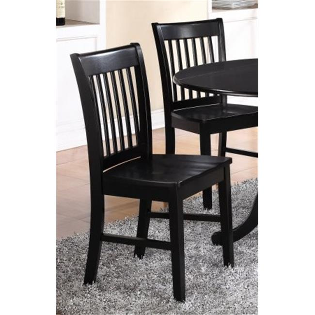 Norfolk Dining Chair with Wood Seat in Black Finish Pack of 2