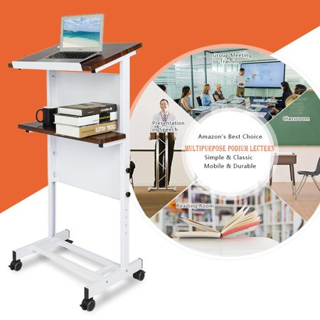 Ktaxon Mobile Stand Up Lectern Podium with Wheels, Height Adjustable Portable Heavy Duty Desk