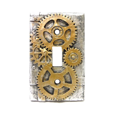 4.25 Inch Resin Steampunk Light Switch Plate Cover, Gold/Gray, Perfect gift for those that love Light Cover By PTC - Steampunk Items For Sale