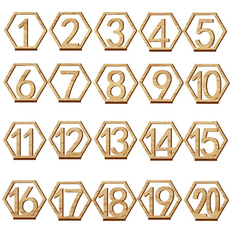 Wedding Reception Table Number (20pcs 1-20 Wooden Wedding Table Number Holders with Base for Reception and Tables Decorations Style 3 )