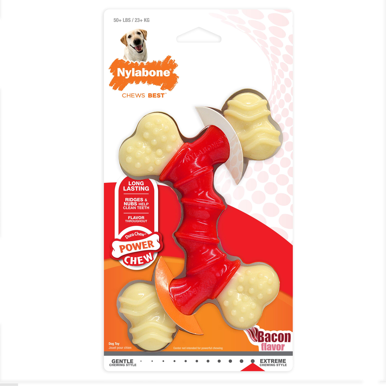 Nylabone Power Chew Dura Chew Double Bone Bacon Dog Chew Toy, X-Large