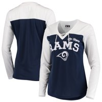 Los Angeles Rams G-III 4Her by Carl Banks Women's Laces Out Long Sleeve T-Shirt - White/Navy