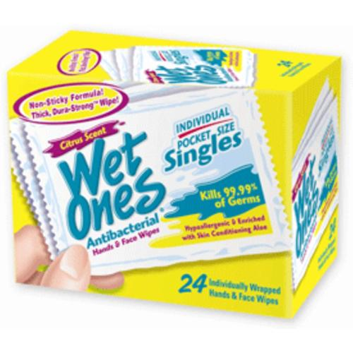 WET ONES Moist Towelette, Antibacterial, Citrus, Singles 24 ea (Pack of 2)