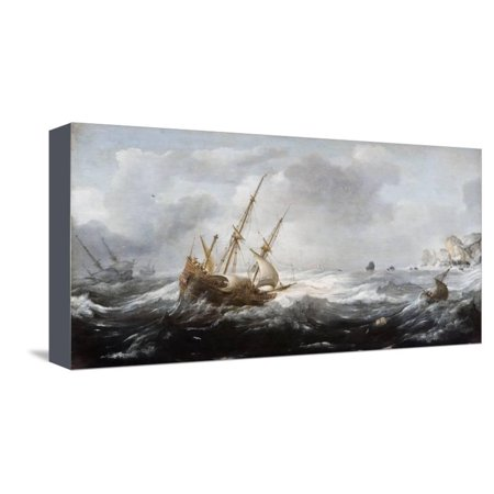 Ships in a Storm on a Rocky Coast, 1614-1618 Stretched Canvas Print Wall Art By Jan