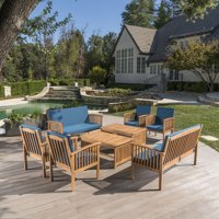 Jenny Outdoor 8 Piece Acacia Wood Sofa Set with Cushions