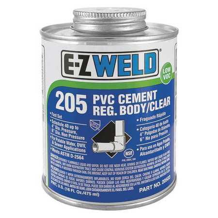 EZ WELD WW60504 Cement, 32 Oz, Clear, PVC, Low VOC