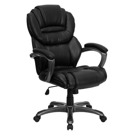 Flash Furniture Leather Executive Office Chair With Padded Loop Arms