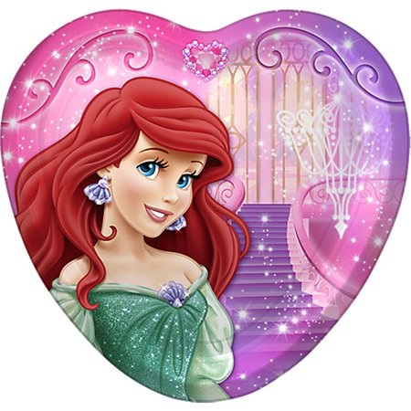 Disney Princess Heart Shaped Party Dessert Paper Plates 7