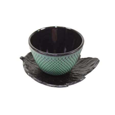 Depression Hobnail - 1 Black Leaf Teacup Saucer + 1 Green Polka Dot Hobnail Japanese Cast Iron Tea Cup Teacup