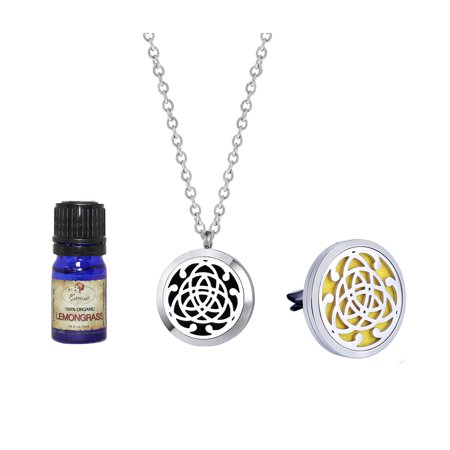 Anavia Premium Celtic Necklace and Car Clip Aromatherapy Jewelry Lemongrass Essential Oil Diffuser with Gift Box