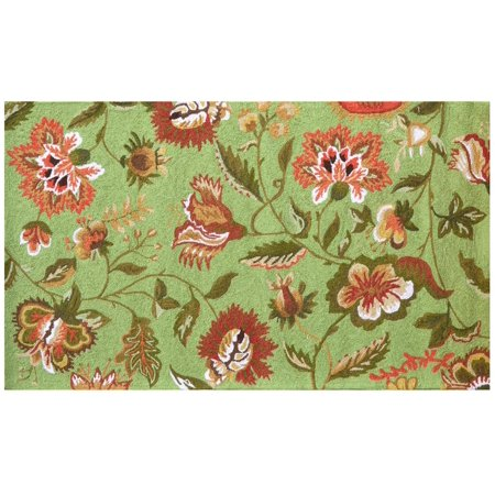 Rug Jacobean Floral Flowers 5x3 Green Wool Yarns New Hand-Hooked JK-157