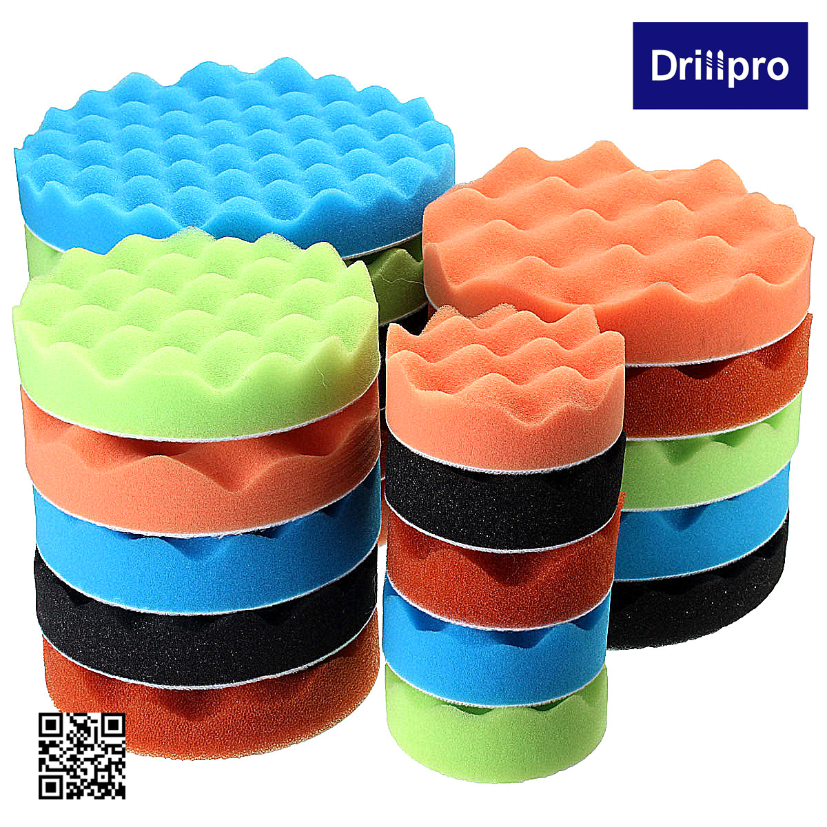 "Drillpro 7Pcs/set Auto Car Compound Polishing Waxing Buffing Sponge Pads Kit with 5/8'' Drill Adapter, 3""/5""/6""/7"" Inch"