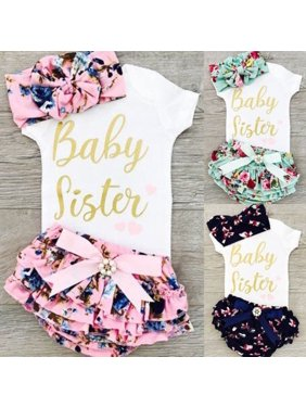 Newborn Infant Baby Girls Outfit Clothes Tops Romper Bodysuit+Headband+Pants Set