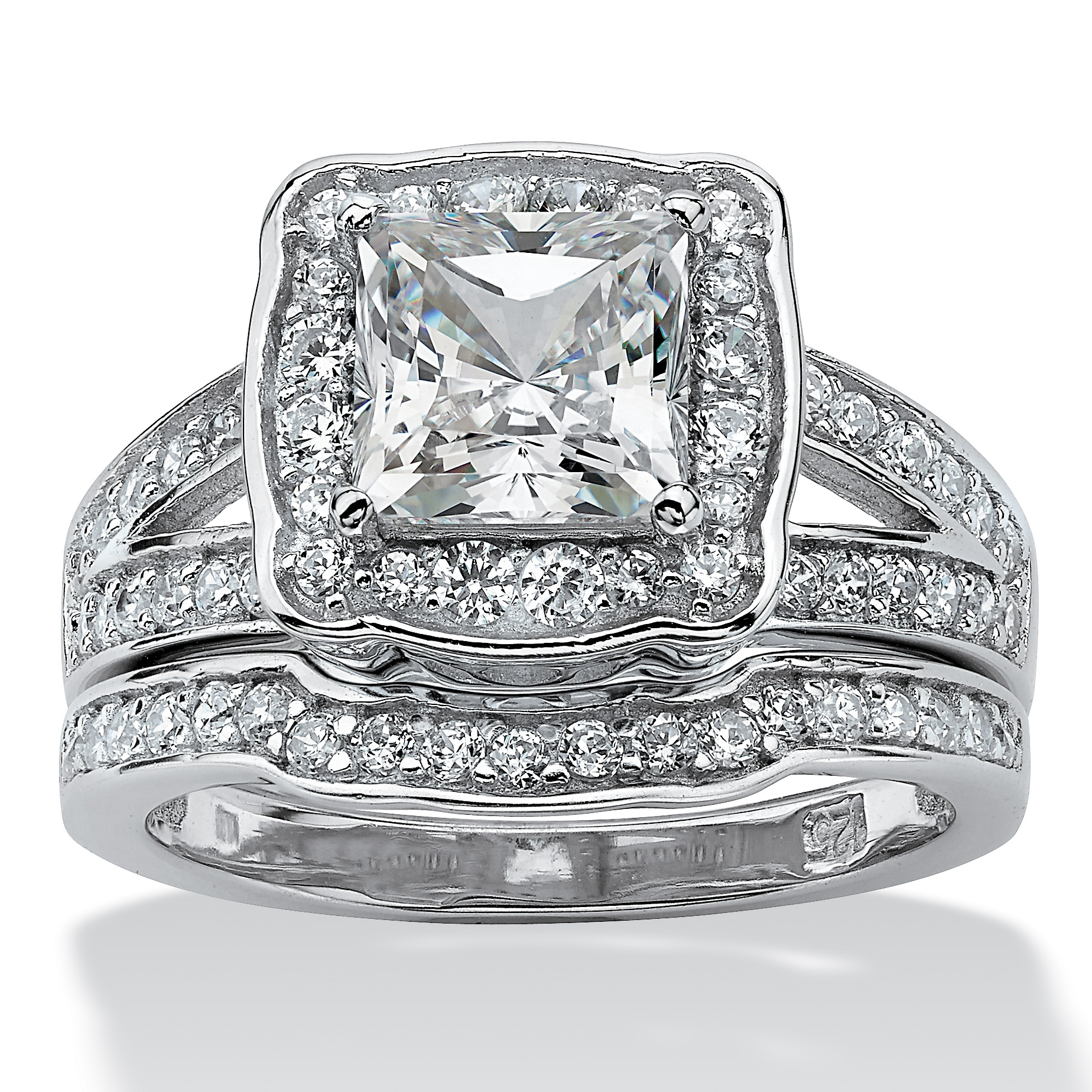 2.50 TCW Princess-Cut Cubic Zicronia 2-Piece Bridal Ring Set in Platinum over Sterling Silver