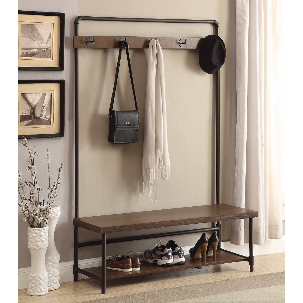 Industrial Inspired Pipe Designed Hall Tree, Brown