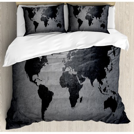 Dark Grey Queen Size Duvet Cover Set, Black Colored World Map on Concrete  Wall Image Urban Structure Grungy Rough Look, Decorative 3 Piece Bedding  Set ...