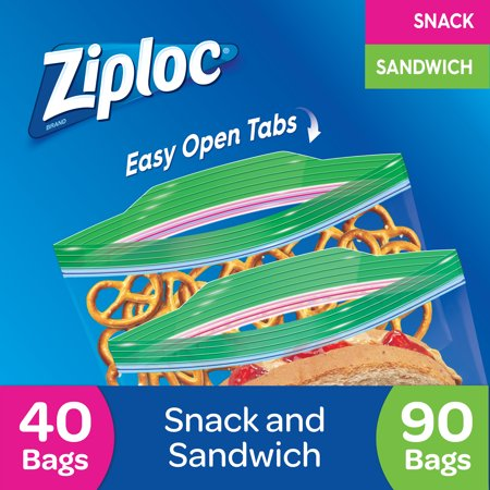 Ziploc Pinch & Seal Sandwich & Snack Bags, 130 Count Sandwich Delivery Bag