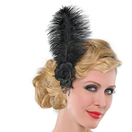 Hairclip Roaring 20's Jazzy Flapper Black Rose Feather (Jazzy Jeff Halloween)