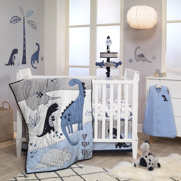 Lambs Ivy Baby Dino Blue White, Black And White Dinosaur Baby Bedding