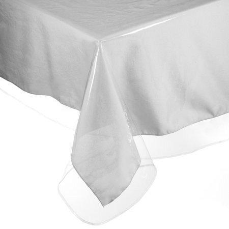 Easy Care Super Clear Vinyl Oblong Tablecloth Protector - Sewn Edges 60