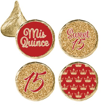 Quinceanera Party Favor Stickers, 324ct - Sweet 15 Princess Crowns Quinceanera Party Favors Red and Gold Decorations - 324 Count Stickers (Princess Themed Quinceanera)
