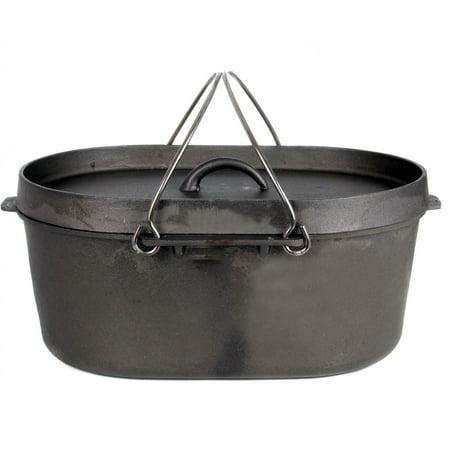 Cajun Classic 8-quart Oval Unseasoned Cast Iron Casserole Pot With Lid