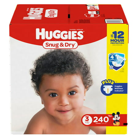 HUGGIES Snug & Dry Diapers, Size 3 , for 16 - 28 lbs.., One Month Supply (240 Count) of Baby Diapers,