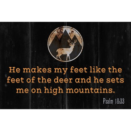 He Makes My Feet Like The Feet Of The Deer And He Sets Me On High Mountains Psalm 18:33 Scripture Quote Hunting Deer