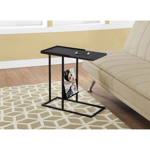 Accent Table Black   Black Metal with a Magazine Rack by