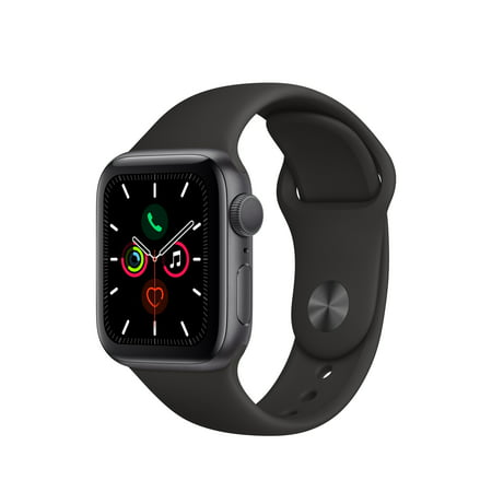 Apple Watch Series 5 GPS, 40mm Space Gray Aluminum Case with Black Sport Band - S/M & M/L