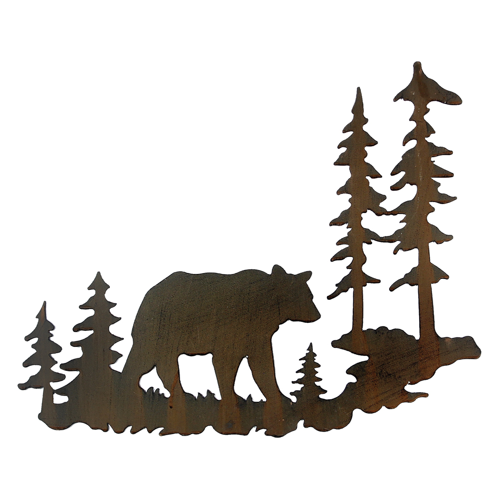 Woodland Bear Metal Lodge Wall Art - Cabin  Decor