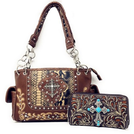 Texas West Concealed Carry Shoulder Handbag Western Purse And Matching Wallet With Rhinestone Cross In Multi Collections ()