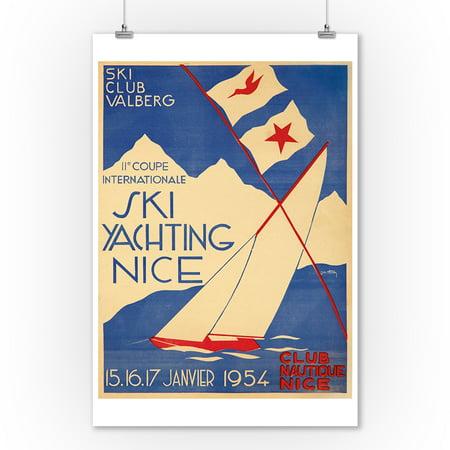 Ski Yachting Nice Vintage Poster (artist: Hupon, Jm.)  c. 1954 (9x12 Art Print, Wall Decor Travel Poster)