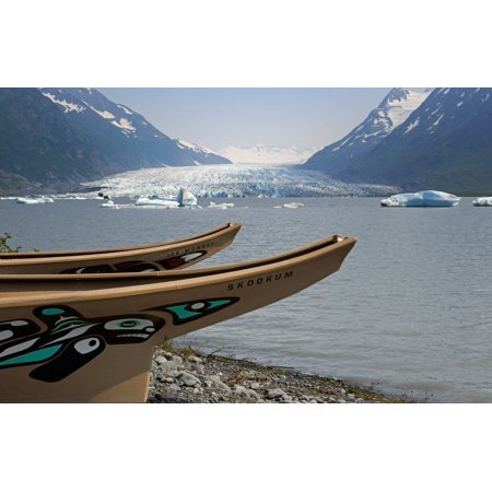Modern Replicas Of Two Tlingit War Canoes In Front Of The Lake Formed By The Spencer Glacier Chugach National Forest Southcentral Alaska Stretched Canvas - Ed Bennett  Design Pics (17 x 11)