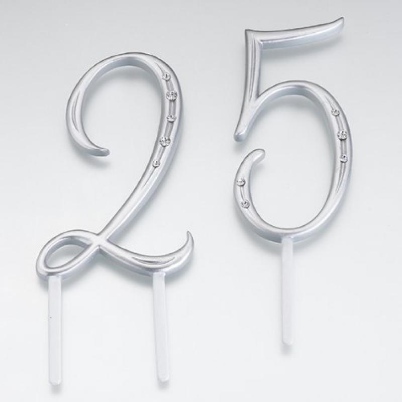 Cathy's Concepts Silver Monogram Cake Number Cake Topper ...