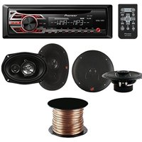 """Pioneer DEH-150MP Single-DIN Car Stereo CD Receiver + Cerwin-Vega XED62 300W 6.5"""" 2-Way Coaxial Speakers + Cerwin-Vega XED693 350W 6 x 9"""" 3-Way Coaxial Speakers + Speaker Wire Wire 18 AWG 50 feet"""