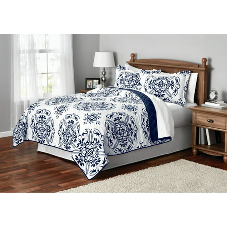 Mainstays Classic Leaf Damask Patterned Quilt, Full/Queen, - Chain Quilt Pattern