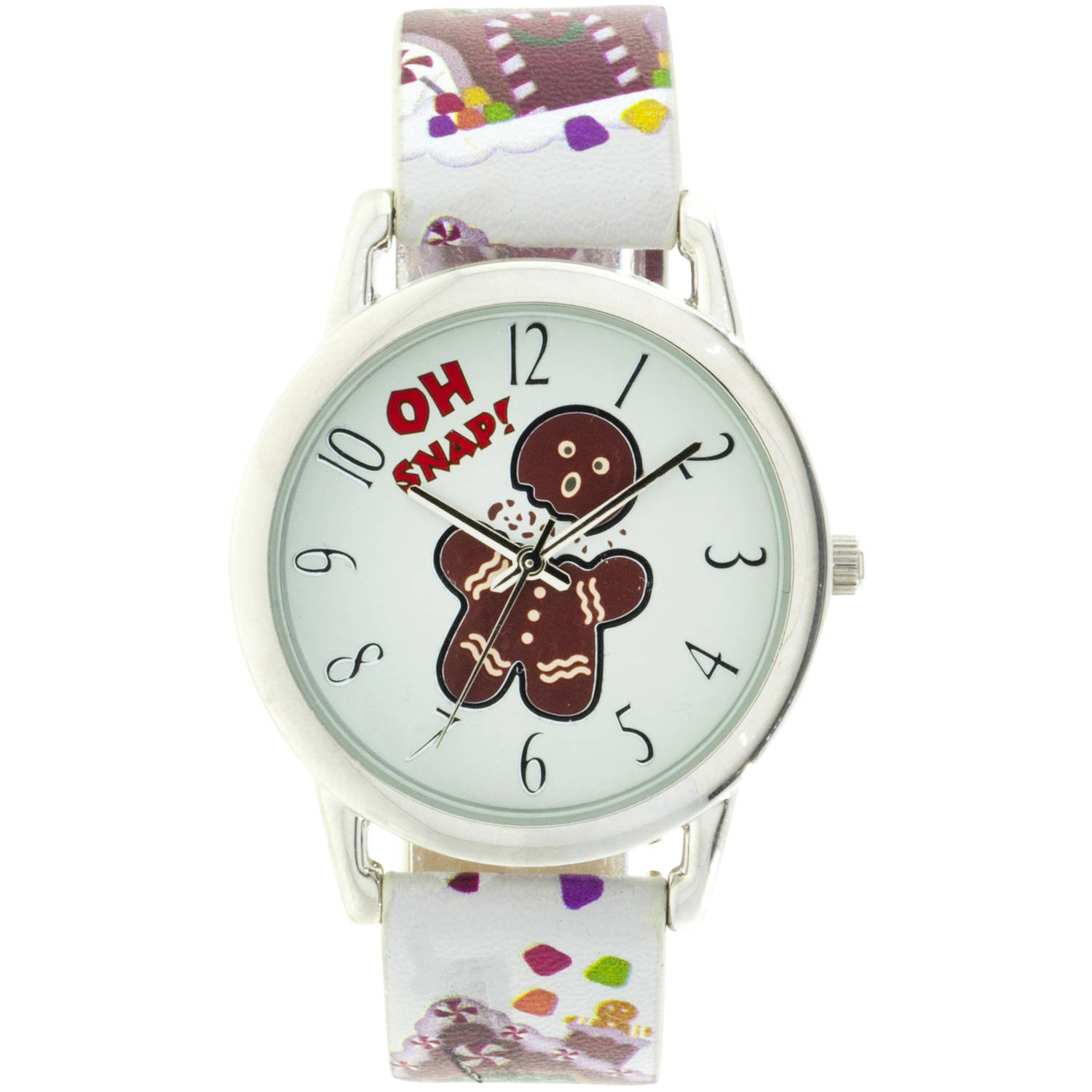 """Oh Snap"" Gingerbread Man Round Silver Ugly Christmas Watch,Multi-Color Candy Cane Strap"