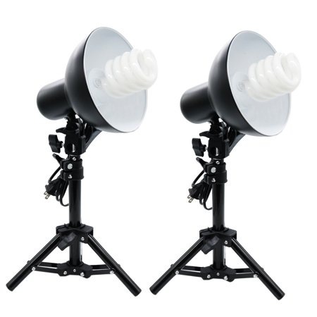 Foto&Tech 2x Metal Product Photography YouTube Video Table Top Fluorescent Lamp Studio Lighting Kit 110-240V + 2x 45W CFL Daylight Spiral Bulb 5500K 110V + 2x Metal Light Stand