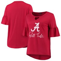 Alabama Crimson Tide Women's Ruffle And Ready Keyhole 3/4-Sleeve Tri-Blend T-Shirt - Crimson