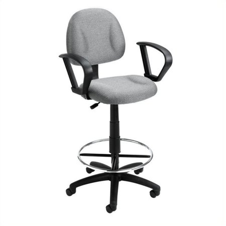 Fabric Drafting Stool (Kingfisher Lane Fabric Upholstered Office Drafting Stool in Gray)