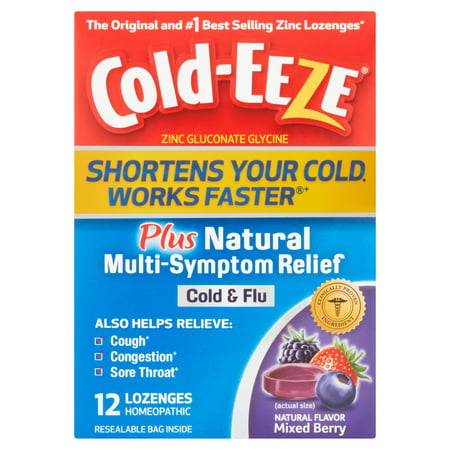 (2 pack) Cold-Eeze Mixed Berry Plus Natural Multi-Symptom Relief Cold & Flu Lozenges, 12 count