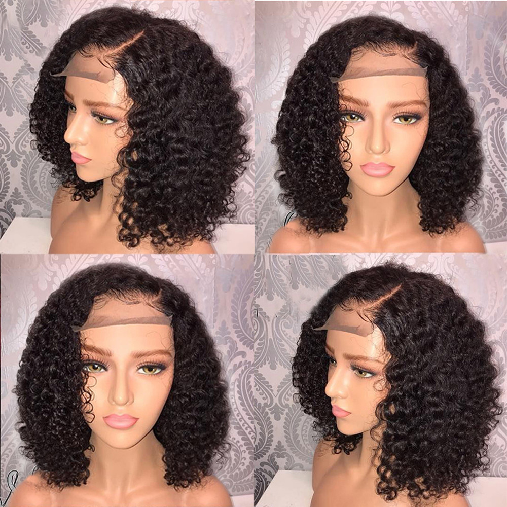 Tuscom Brazilian Less Lace Front Full Wig Bob Wave Black Natural Looking Women Wigs