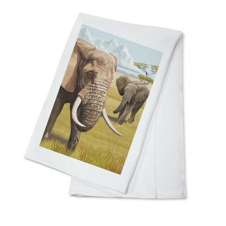 African Elephant - Lantern Press Artwork (100% Cotton Kitchen Towel) ()
